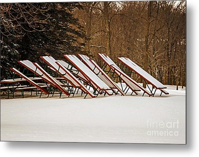 Waiting For Summer - Picnic Tables Metal Print by Mary Machare