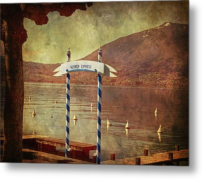 Waiting For The Taxi Boat Metal Print by Barbara Orenya