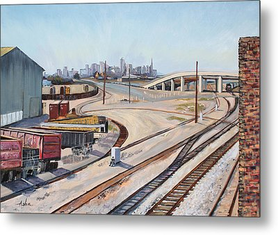 Metal Print featuring the painting Waiting For The Train by Asha Carolyn Young