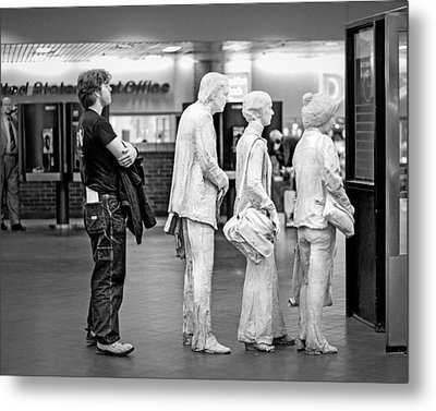 Waiting In Line At Grand Central Terminal 1 - Black And White Metal Print by Gary Heller