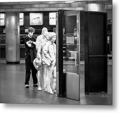 Waiting In Line At Grand Central Terminal 2 - Black And White Metal Print by Gary Heller