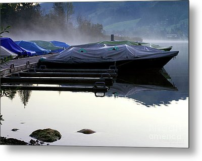 Metal Print featuring the photograph Waiting In Morning Fog by Charles Lupica