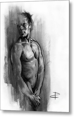 Metal Print featuring the drawing Waiting by Paul Davenport