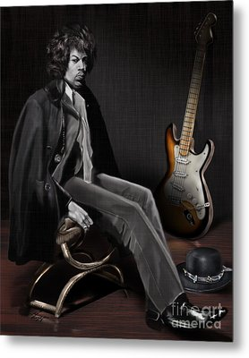 Waiting To Play - The  Jimi Hendrix Series Metal Print by Reggie Duffie