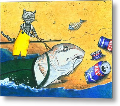 Wake Up Daddy The Tide Is Coming In Metal Print by Karen Rhodes