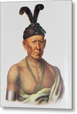 Wakechai Or Crouching Eagle, A Sauk Chief, Illustration From The Indian Tribes Of North America Metal Print by Charles Bird King