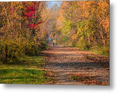 Waling Into Fall Metal Print by Mary Timman