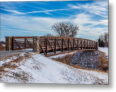 Walk Across Bridge Metal Print