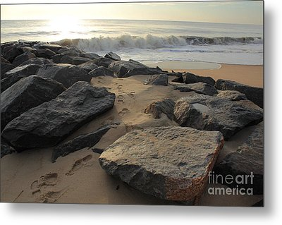 Walk By The Shore Metal Print