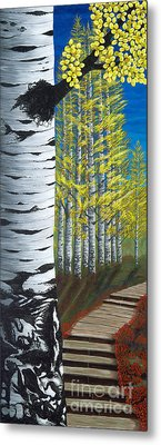 Walk Through Aspens Triptych 1 Metal Print by Rebecca Parker