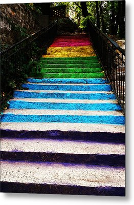 Walkin' On Rainbow Metal Print