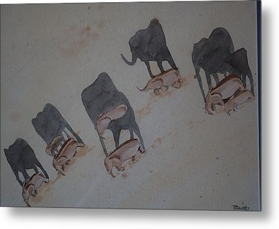 Walking Elephants Metal Print
