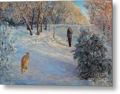 Walking In A Winter Park Metal Print