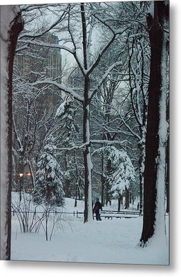 Walking In Snowy Central Park At Dusk Metal Print