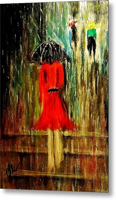 Metal Print featuring the painting Walking In The Rain.. by Cristina Mihailescu
