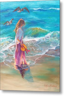 Metal Print featuring the painting Walking In The Waves by Karen Kennedy Chatham