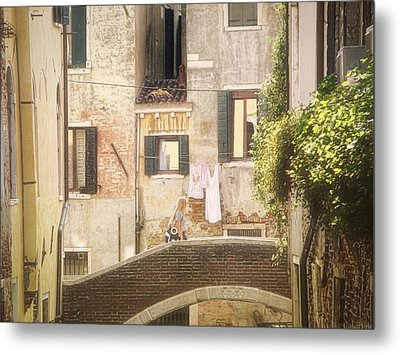 Walking In Venice Metal Print