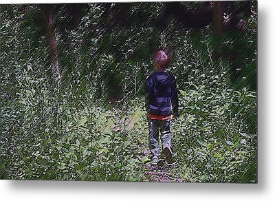 Boy Walking Into The Woods Metal Print by Ellen Tully