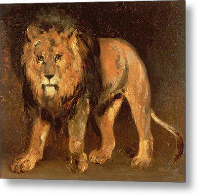 Walking Lion Metal Print by Theodore Gericault