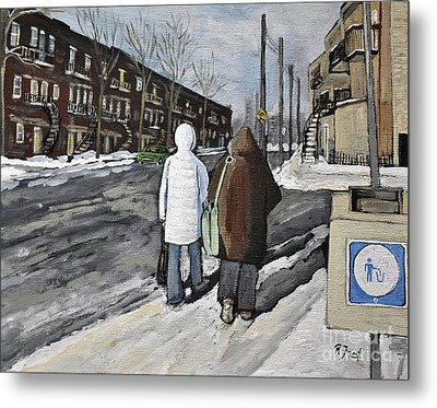 Walking On The Avenues Metal Print by Reb Frost