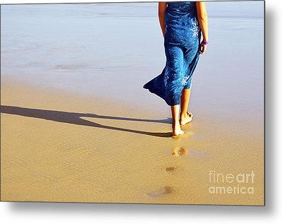 Walking On The Beach Metal Print by Carlos Caetano