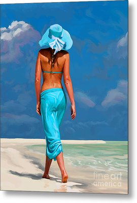 walking on the beach V Metal Print by Tim Gilliland
