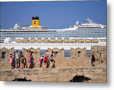 Walking On The Fortification Of The Medieval City Of Rhodes Metal Print by George Atsametakis