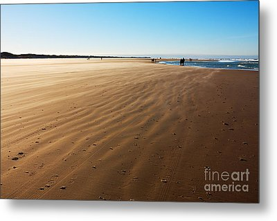 Walking On Windy Beach. Metal Print