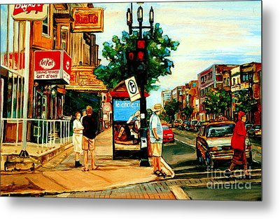 Walking Past Rialto And The Kit Kat Gift Shop Towards Pascals On Blvd. Park Avenue Montreal Scenes Metal Print by Carole Spandau