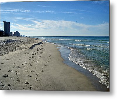 Walking The Beach Metal Print by Sandy Keeton