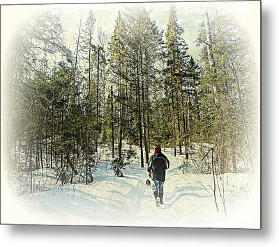Walking The Dog On A Snowy Trail Metal Print by Dianne  Lacourciere