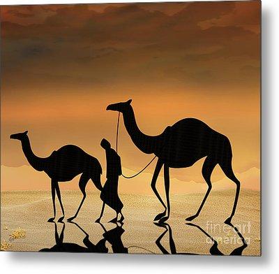 Walking The Sahara Metal Print by Bedros Awak