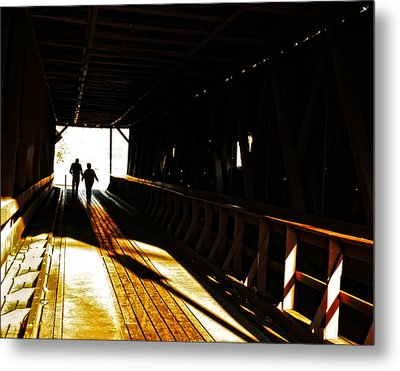 Metal Print featuring the photograph Walking Through History - Elizabethton Tennesse Covered Bridge by Denise Beverly