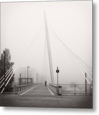 Walking Through The Mist Metal Print