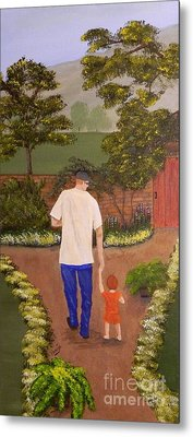 Walking With Papa Metal Print