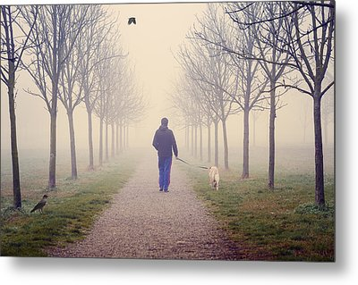 Walking With The Dog Metal Print by Alfio Finocchiaro