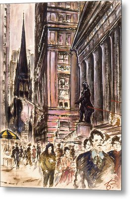 New York Wall Street - Fine Art Metal Print by Art America Gallery Peter Potter