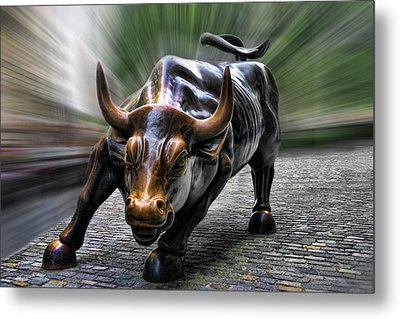 Wall Street Bull Metal Print by Wes and Dotty Weber