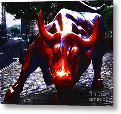 Wall Street Bull - Painterly Metal Print by Wingsdomain Art and Photography