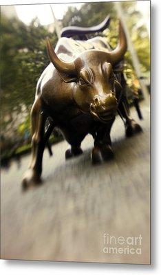 Wall Street Bull Metal Print by Tony Cordoza