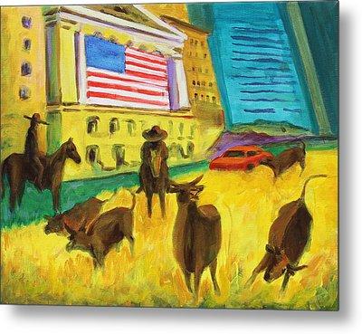 Wall Street Bulls On The Run Painting By Bertram Poole Artist Metal Print by Thomas Bertram POOLE