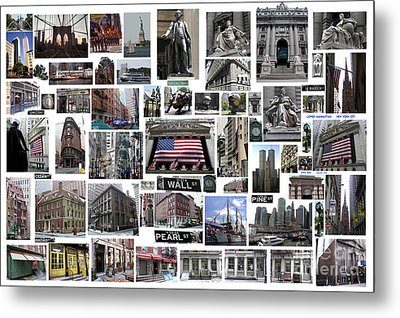 Metal Print featuring the digital art Wall Street Financial District Collage by Steven Spak