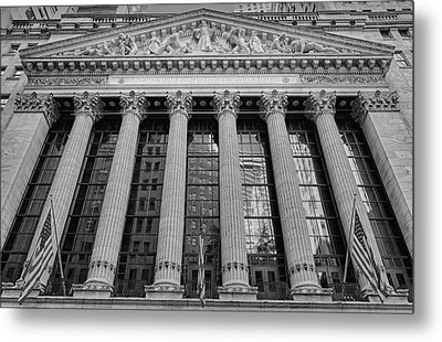 Wall Street New York Stock Exchange Nyse Bw Metal Print