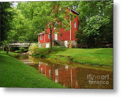 Metal Print featuring the photograph Wallace Cross Grist Mill Reflections by Bob Sample