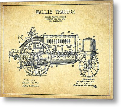 Wallis Tractor Patent Drawing From 1916 - Vintage Metal Print by Aged Pixel