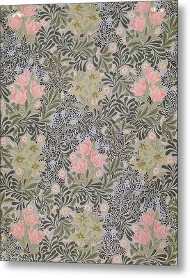 Wallpaper Design With Tulips Daisies And Honeysuckle  Metal Print by William Morris