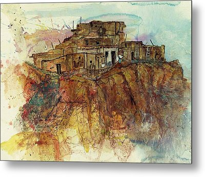 Walpi Village First Mesa  Hopi Reservation Metal Print by Elaine Elliott