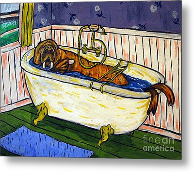 Walrus Bather Metal Print by Jay  Schmetz