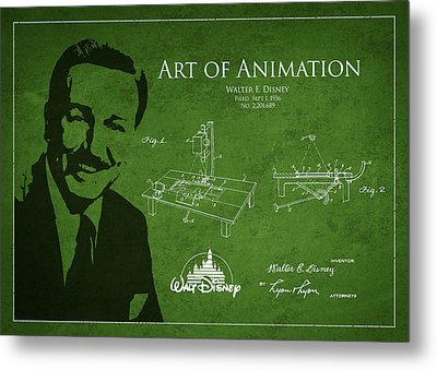 Walt Disney Patent From 1936 Metal Print by Aged Pixel