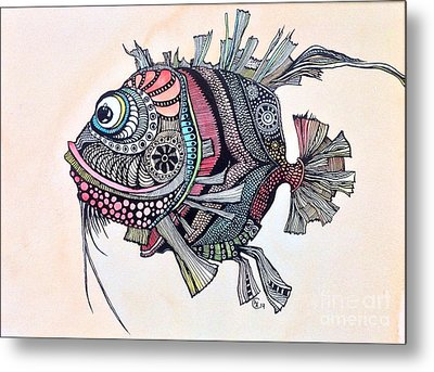 Metal Print featuring the painting Wanda The Fish by Iya Carson